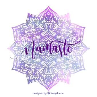 ナマステの背景と紫の水彩画の曼荼羅