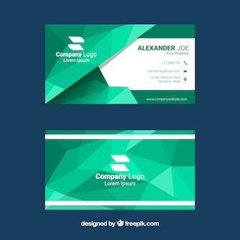 Зеленая полигональная визитная карточка