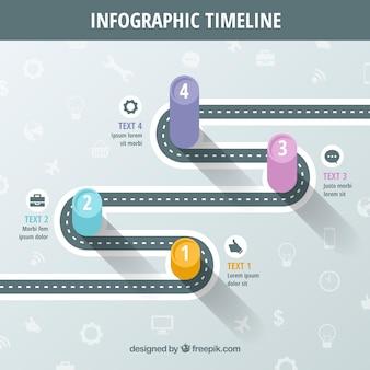 Развлечения инфографики с дорогой