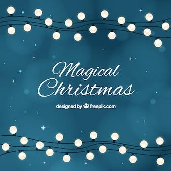 Рождественские огни гирлянды фон