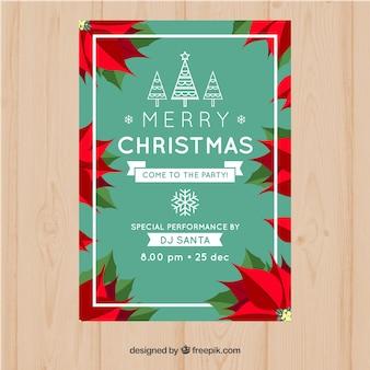 ポインセチアのメリークリスマスポスター