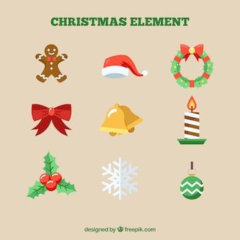 Рождественские украшения с плоским дизайном