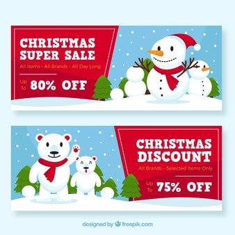Рождественские баннеры с снеговиками