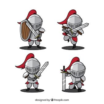 手で描かれた様々な騎士