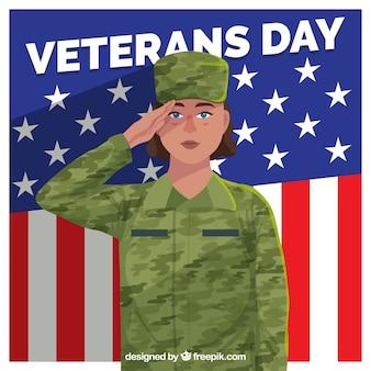 敬礼の兵士と退役軍人の日のデザイン