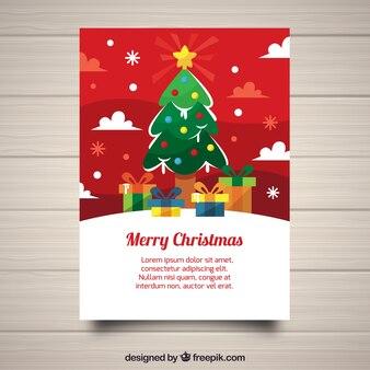 Рождественский плакат с симпатичным стилем