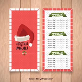 Винтажное рождественское меню с шляпой санта-клауса