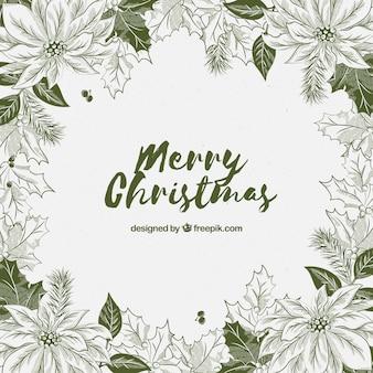 手描きの花のクリスマスの背景