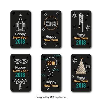 黒い長方形の新年のステッカー