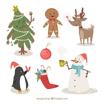 Коллекция типичных рождественских персонажей и элементов