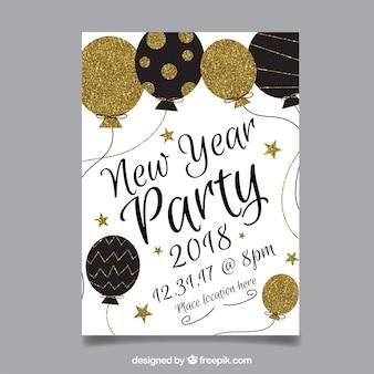 Новогодний плакат с черными и золотистыми блестящими воздушными шарами