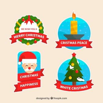 メリークリスマス、クリスマスの平和と幸福、白いクリスマスバッジ