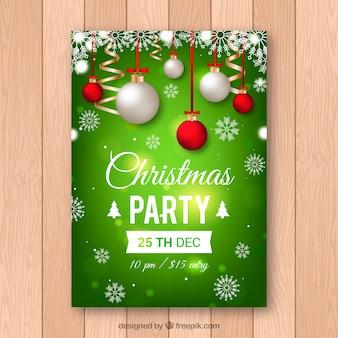 クリスマスパーティの明るい緑のポスター