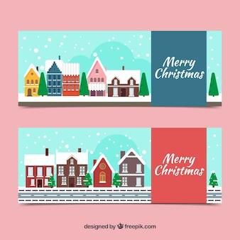 Рождественские баннеры со снежными деревнями