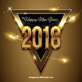 新年の黄金の背景に黒い三角形