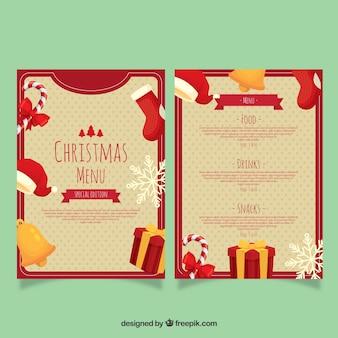 Красивое рождественское меню с элементами