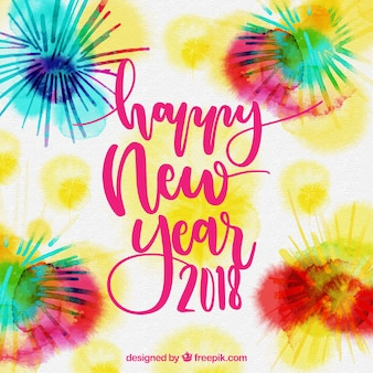 Красочный акварельный фон нового года