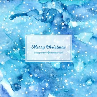 Синий фон с акварелью для рождества