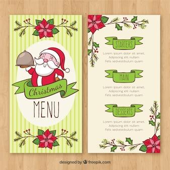 Красивое рождественское меню с санта-клаусом