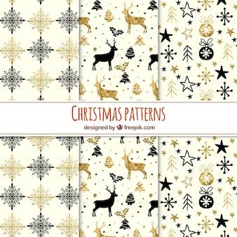 黒と黄金の要素を持つ輝くクリスマスのパターンのコレクション