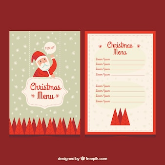 Винтажное рождественское меню с санта-клаусом
