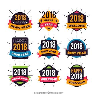 Коллекция красочных стикеров нового года
