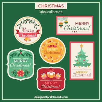 Коллекция красивых ярких рождественских значков