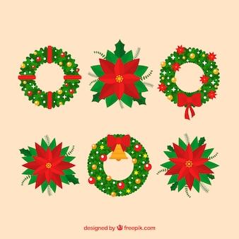 クリスマスの花輪とポインセチアのセット