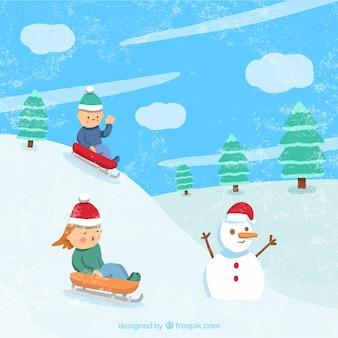 Зимний пейзаж с детьми на санях