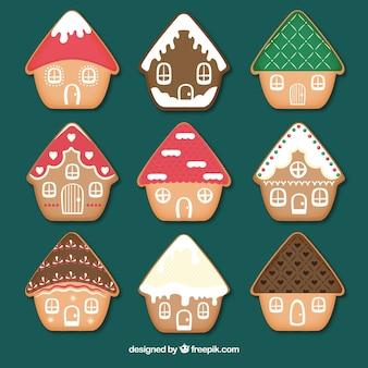 Коллекция из девяти красочных пряничных домов