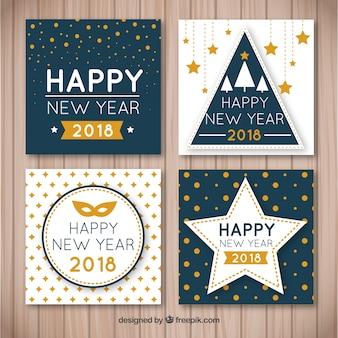新年のための素敵な手描きのグリーティングカードのコレクション