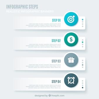 Реалистичные инфографические шаги