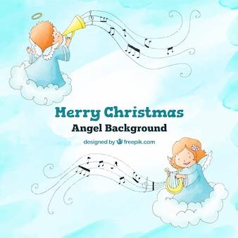 Фон с ангелами, играющими в рождественскую музыку