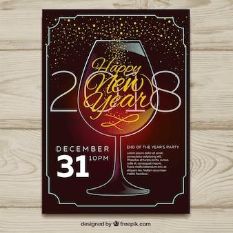 Красивый плакат с золотыми искрями из стекла из шампанского