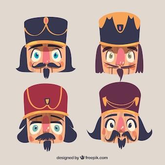 クリスマスキャラクターの顔のコレクション