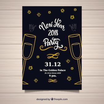 Черная и золотая ручная нарисованная новогодняя открытка