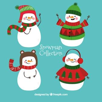 Довольно снеговики с зимними аксессуарами