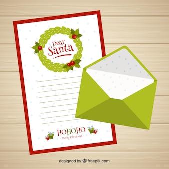 親愛なるサンタの手紙のテンプレートと緑の封筒