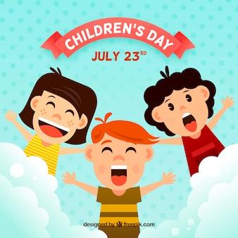 悲鳴を上げる子供たちと子供の日のデザイン