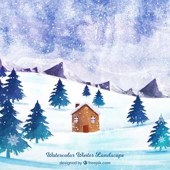 雪の多い森の小さな家の背景