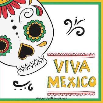 頭蓋骨とビバ・メキシコのレタリングの背景