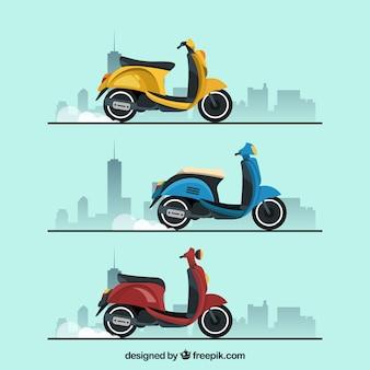 Набор плоских электрических скутеров
