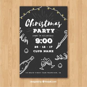 Черный партийный плакат на новый год с рисованными элементами