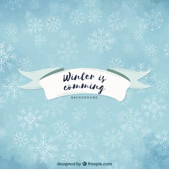 水彩の背景の冬が来ている
