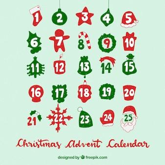ターコイズの背景にクリスマスアドベントカレンダー