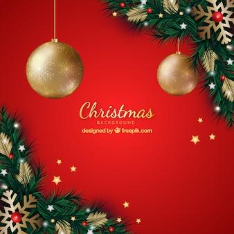 Красный фон с рождественским украшением