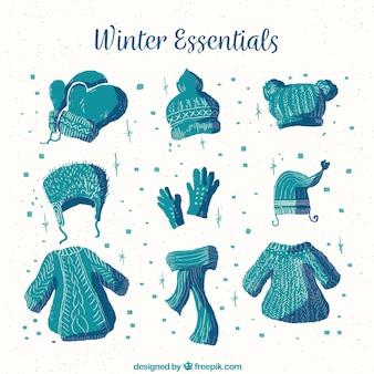 水彩冬の服&青の必須アイテム