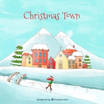 クリスマス街のアイススケート