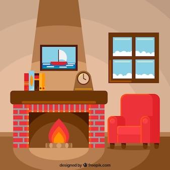 冬の日に暖炉に座って
