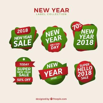 Новый год продажи тегов в зеленый и красный
